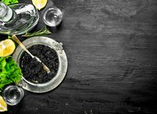 Black caviar with vodka and lemon slices. On a black chalkboard Royalty Free Stock Photos