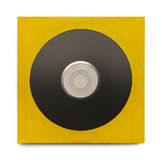 Black CD With Case. Black Disc in Yellow Case Isolated on a White Background Stock Photo