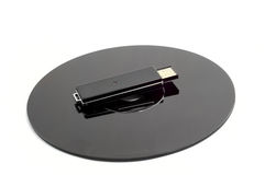 Black CD compact disc and black USB drive Royalty Free Stock Photos