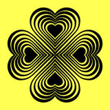 Black Celtic heart knot - stylized symbol. Made of hearts. Four-leaf clover. Stock Photo