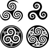 Black celtic triskels Royalty Free Stock Image