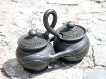 Black ceramic. Black decorative ceramic. Folk ukrainian handmade stock image
