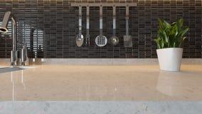 Black ceramic modern kitchen design background with kitchen marb Royalty Free Stock Photo
