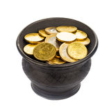 Pot with golden coins Stock Images