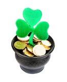 Pot with golden coins Stock Photos
