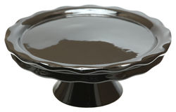 Black Cerramic Emtpy Cake Stand Stock Photo