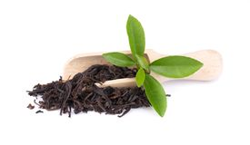 Black Ceylon tea with flower petals and bergamot, isolated on white background. Black Ceylon tea with flower petals and bergamot, isolated on white background royalty free stock photos