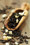 Black ceylon tea with lemon. Honey and candied fruits Royalty Free Stock Images