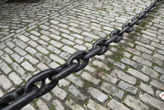 Black chain. Black painted chain with rust spots Royalty Free Stock Photo