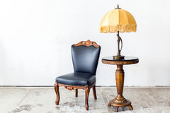 Black chair with lamp Royalty Free Stock Images