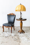Black chair with lamp Stock Photos