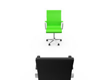 Black Chair on a Meeting. With green chair, back view, isolated on white background Royalty Free Stock Photos