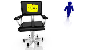 Black chair with resignation notice Stock Image
