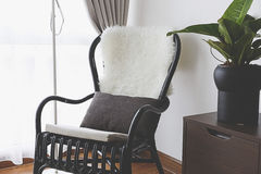 Black Chair by the window stock photography
