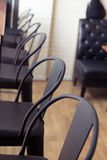 black chair and wooden bar Royalty Free Stock Images