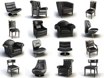 Black chairs. Black leather chair on the white background Royalty Free Stock Photography