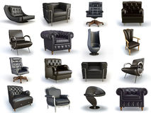 Black chairs. Black leather chair on the white background Royalty Free Stock Images