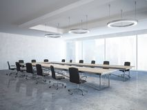 Black chairs loft boardroom interior Royalty Free Stock Photos