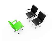 Black Chairs on a Meeting. Two black chairs on a meeting with green chair, isolated on white background Royalty Free Stock Photo