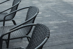 Black chairs. In a outdoor cafe Royalty Free Stock Photography