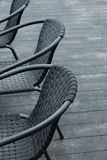 Black chairs. In a outdoor cafe Stock Images