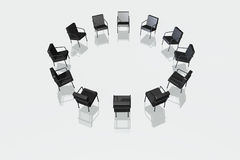 Black chairs on white background Royalty Free Stock Image