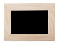 Black chalk background in light wooden frame Stock Photos