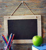 Black chalk board, back to school and learning concept copy spac Royalty Free Stock Images