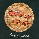 Black Chalk Board Background. Filet of Raw Salmon Fish on Round Cutting Board. Fish Cut Slice For Cooking, Holiday Meals royalty free illustration