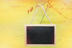 Black chalk board hanging from a tree on yellow, bright background Stock Photos