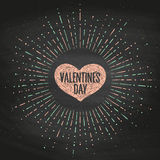 Black chalk board romantic set. Greetin card with pink heart and message Valentine's Day. Vector Illustration. Stock Photography