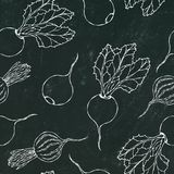 Black Chalk Board. Seamless Background of Ripe Beets. Endless Pattern of Beetroot with Top Leaves and Beet Halves. Fresh Vegetable vector illustration