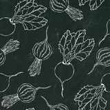 Black Chalk Board. Seamless Background of Ripe Beets. Endless Pattern of Beetroot with Top Leaves and Beet Halves. Fresh Vegetable royalty free illustration