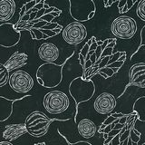 Black Chalk Board. Seamless Background of Ripe Beets. Endless Pattern of Beetroot with Top Leaves and Beet Halves. Fresh Vegetable stock illustration