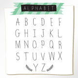 Black chalk pencil alphabet uppercase letters.Hand drawn written Royalty Free Stock Photography