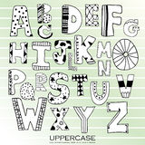 Black chalk pencil alphabet uppercase letters.Hand drawn written Stock Photo