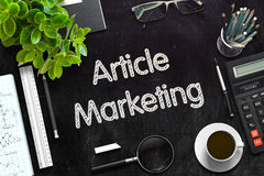 Black Chalkboard with Article Marketing. 3D Rendering. Stock Image