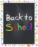 Black chalkboard with back to school and letters vector Stock Image
