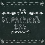Black Chalkboard Background St. Patrick's Day Lettering. 17 March Irish Day Celebration Illustration. Hand Drawn. Savoyar Doodle. Style Royalty Free Stock Image