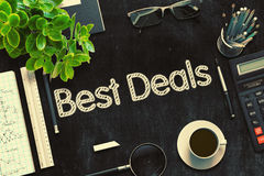 Black Chalkboard with Best Deals Concept. 3D Rendering. Royalty Free Stock Images