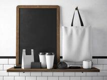 Black chalkboard on bookshelf with set of blank elements. 3d rendering Royalty Free Stock Photo