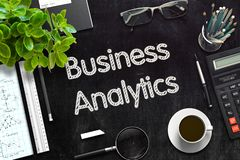 Black Chalkboard with Business Analytics. 3D Rendering. stock images