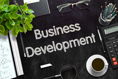 Black Chalkboard with Business Development. 3D Rendering. Stock Image