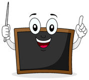 Black Chalkboard Character with Pointer. A cute cartoon blackboard teacher character smiling and holding a pointer, isolated on white background. Eps file Stock Photography