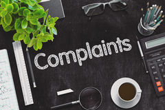 Black Chalkboard with Complaints. 3D Rendering. Royalty Free Stock Images