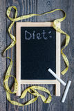 Black chalkboard for copy space, healthy eating and dieting concept Royalty Free Stock Photos