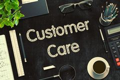 Customer Care - Text on Black Chalkboard. 3D Rendering. stock images