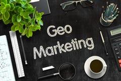 Black Chalkboard with Geo Marketing. 3D Rendering. Geo Marketing on Black Chalkboard. 3d Rendering. Toned Image stock photo