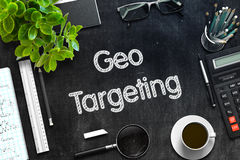 Black Chalkboard with Geo Targeting Concept. 3D Rendering. Geo Targeting - Text on Black Chalkboard.3d Rendering. Toned Image Royalty Free Stock Image