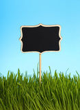 Black chalkboard in green grass over blue sky. Black chalkboard sign in spring fresh green grass close up over background of clear blue sky Stock Images